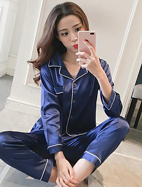 preiswerte Pyjamas-Damen Hemdkragen Anzüge Pyjamas Solide
