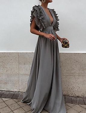 levne Party noc-Dámské Elegantní Swing Šaty - Jednobarevné Maxi