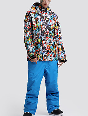 cheap Sports & Outdoors-GSOU SNOW Men's Ski Jacket with Pants Ski / Snowboard Winter Sports Waterproof Windproof Warm POLY Clothing Suit Ski Wear