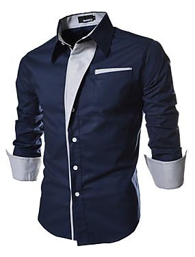 Недорогие Одежда в арабском стиле-Муж. Большие размеры Рубашка Однотонный Классический Тонкие Верхушки Воротник-визитка Белый Черный Красный / Весна / Осень / Длинный рукав