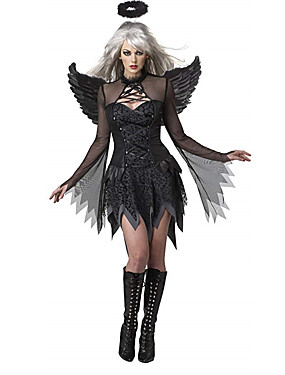 cheap Toys & Hobbies-Fallen Angel Cosplay Costume Adults' Female Cosplay Halloween Halloween Carnival Masquerade Festival / Holiday Cotton Black Female Carnival Costumes Solid Colored / Dress / Dress
