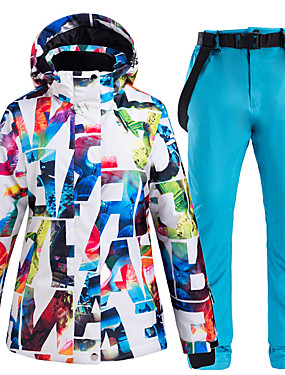 cheap Sports & Outdoors-ARCTIC QUEEN Women's Ski Jacket with Pants Skiing Camping / Hiking Snowboarding Windproof Warm Ski POLY Eco-friendly Polyester Pants / Trousers Bib Pants Top Ski Wear