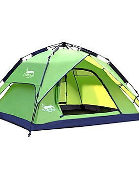 cheap Sports & Outdoors-DesertFox® 3 person Automatic Tent Outdoor Waterproof UV Resistant Double Layered Automatic Dome Camping Tent 2000-3000 mm for Camping / Hiking Traveling Outdoor Oxford 240*210*130 cm