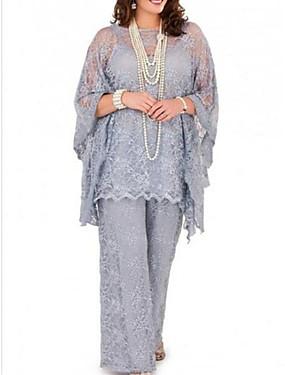 billige Bryllup & Eventer-buksedrakt / jumpsuit mor til brudekjolen pluss størrelse juvel hals gulvlengde chiffon langermet med blonder 2020 mor til brudgommens kjoler