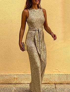 cheap Party Night-Women's Black Gold Silver Jumpsuit Onesie, Solid Colored S M L
