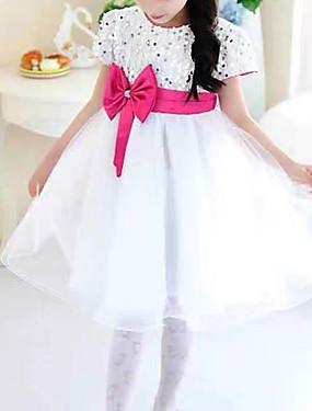 preiswerte Biszu19-Kinder Baby Mädchen Süß nette Art Solide Pailletten Kurzarm Knielang Kleid Weiß