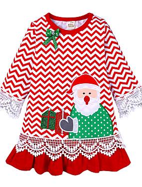 preiswerte Biszu19-Kinder Baby Mädchen Aktiv nette Art Weihnachtsmann Gestreift Weihnachten Bestickt Langarm Knielang Kleid Rote