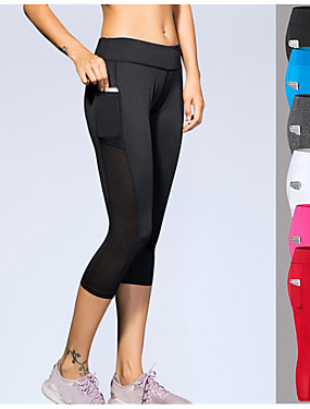 cheap Sports & Outdoors-YUERLIAN Women's Running Capri Leggings Compression Pants Athletic 3/4 Tights with Phone Pocket Pocket Spandex Sport Yoga Gym Workout Running Breathable Sweat-wicking White Black Red Grey Blue Rose