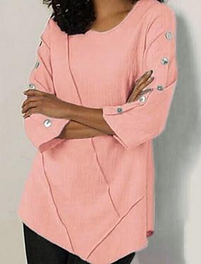 preiswerte Oberteile-Damen Solide T-shirt Schwarz
