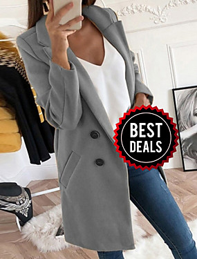 preiswerte Damen Überbekleidung-Damen Alltag Herbst Winter Standard Mantel, Solide Gekerbtes Revers Langarm Polyester Schwarz / Gelb / Blau