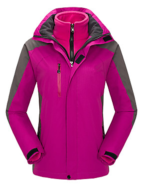 cheap Sports & Outdoors-Women's Hiking 3-in-1 Jackets Hiking Jacket Winter Outdoor Thermal / Warm Waterproof Windproof Breathable Jacket 3-in-1 Jacket Winter Jacket Skiing Camping / Hiking Hunting Purple / Yellow / Red