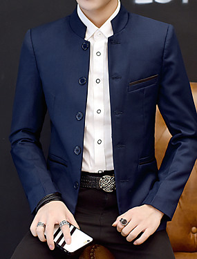 preiswerte Plus Size Blazer & Anzüge für Herren-Herrn Alltag Übergrössen Standard Blazer, Solide Ständer Langarm Baumwolle / Acryl / Polyester Schwarz / Wein / Marineblau / Business-Casual / Schlank