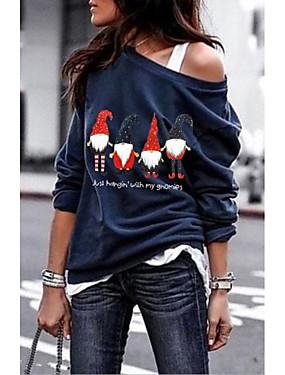 cheap UNDER $9.99-Women's Cartoon T-shirt Daily Wine / White / Black / Navy Blue / Gray