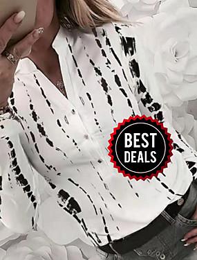 preiswerte Oberteile-Damen Geometrisch Hemd, V-Ausschnitt Weiß