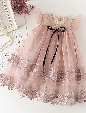 preiswerte Biszu19-Baby Mädchen Süß nette Art Solide Spitze Ärmellos Knielang Kleid Weiß
