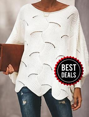 preiswerte BigSave-Damen Solide Langarm Aufflackern-Hülsen- Pullover Pullover Jumper, Rundhalsausschnitt Frühling / Herbst Schwarz / Weiß / Rosa S / M / L