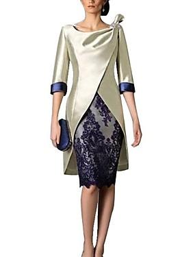 billige Bryllup & Eventer-kjede / søyle mor til brudekjole vintage pluss størrelse juvelhals knelengde polyester 3/4 lengde erme med blonder 2020 mor til brudgommens kjoler