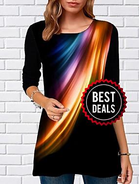 preiswerte Oberteile-Damen Geometrisch T-shirt Schwarz