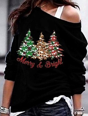 cheap Black Friday-Women's Daily T-shirt - Letter Black