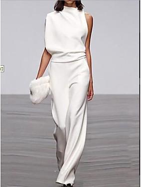 cheap Women's Jumpsuits-Women's Black White Fuchsia Jumpsuit, Solid Colored M L XL