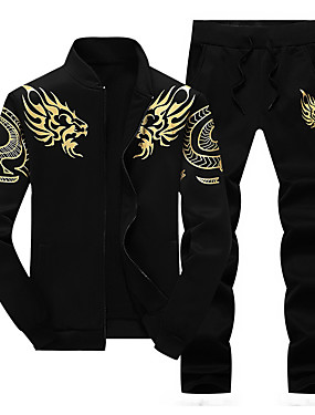cheap Sports & Outdoors-Men's 2-Piece Embroidered Tracksuit Sweatsuit Casual Long Sleeve Front Zipper Thermal / Warm Windproof Soft Running Walking Jogging Sportswear Dragon Plus Size Sweatshirt and Pants Athleisure Wear