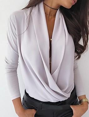 billiga UNDER $ 9.99-Dam Enfärgad Skjorta Dagligen V-hals Vit / Svart / Rodnande Rosa / Ljusgrå
