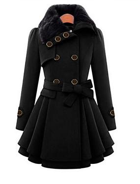 preiswerte Damen Überbekleidung-Damen Alltag Herbst / Winter Lang Mantel, Solide Umlegekragen Langarm Polyester Schwarz / Rote / Kamel