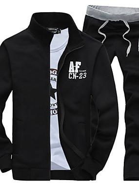 baratos Ofertas Semanais-Homens Delgado Esportes Activo Manga Longa activewear Set Letra Colarinho Chinês / Primavera / Outono / Inverno