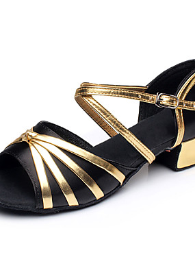 preiswerte Biszu19-Mädchen Tanzschuhe Satin / PU Schuhe für den lateinamerikanischen Tanz Schleife / Farbaufsatz Absätze Starke Ferse Schwarz / Fuchsia / Hell Rot