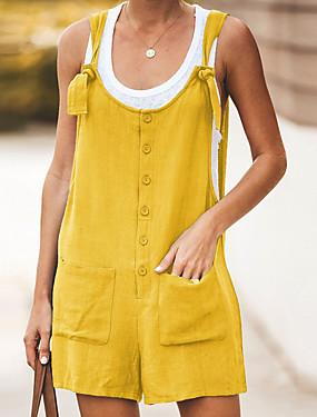 preiswerte Damen Jumpsuits-Damen Schwarz Wein Orange Jumpsuit, Solide S M L