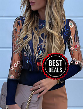 preiswerte Oberteile-Damen Blumen T-shirt Marineblau