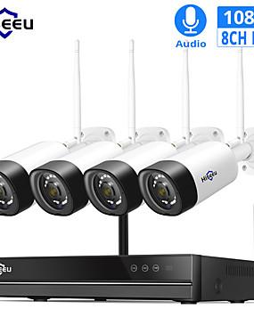 preiswerte Hiseeu-hiseeu 8ch 1080p drahtloses cctv-Sicherheitssystem 2mp ir Audioaufzeichnungs-IP-Kamera im Freien wasserdichte wifi nvr Installationssatz-Videoüberwachung