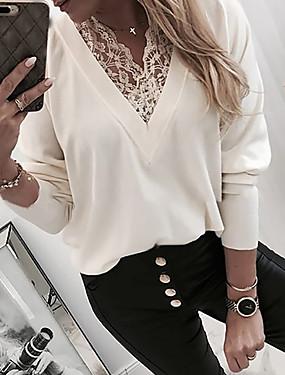 preiswerte Oberteile-Damen Solide T-shirt Weiß