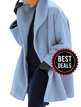 preiswerte Damen Überbekleidung-Damen Alltag Herbst Winter Lang Mantel, Solide Umlegekragen Langarm Polyester Schwarz / Leicht Blau / Weiß