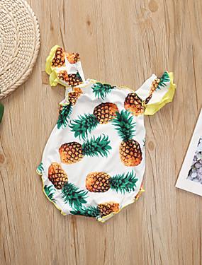 preiswerte Unter €9.9-Baby Mädchen Aktiv Ananas Druck / Solide Druck Ärmellos Body Weiß