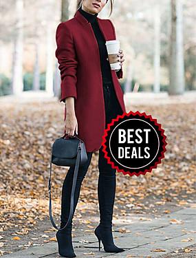 preiswerte Damen Überbekleidung-Damen Alltag Lang Mantel, Solide Ständer Langarm Polyester Wein / Grau / Khaki