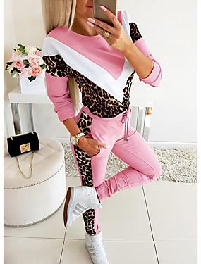 cheap Women's Jumpsuits-Women's Basic Set - Leopard, Print Pant