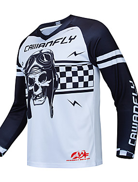 cheap Motorcyle Clothing-CAWANFLY Men's Long Sleeve Cycling Jersey Downhill Jersey Dirt Bike Jersey Winter Summer Polyester White Skull Bike Jersey Top Mountain Bike MTB Thermal Warm Quick Dry Breathable Sports Clothing