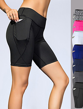 cheap Sports & Outdoors-YUERLIAN Women's High Waist Yoga Shorts Pocket Shorts Butt Lift 4 Way Stretch Breathable White Black Navy Blue Spandex Gym Workout Running Fitness Sports Activewear High Elasticity Slim / Quick Dry