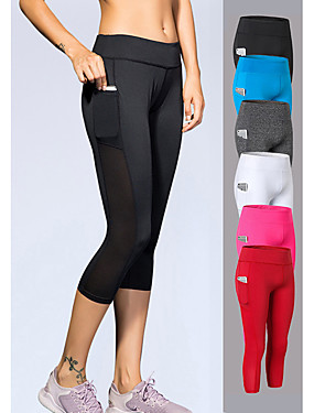 cheap Sports & Outdoors-YUERLIAN Women's High Waist Yoga Pants Pocket Capri Leggings 4 Way Stretch Breathable Quick Dry White Black Red Mesh Spandex Gym Workout Running Fitness Sports Activewear High Elasticity Slim
