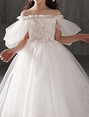 cheap Staycation-Ball Gown Ankle Length First Communion Flower Girl Dresses - Polyester Half Sleeve Off Shoulder with Appliques