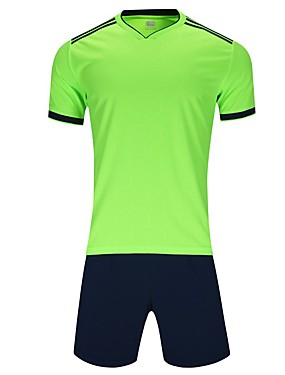 cheap Sports & Outdoors-Men's Soccer Jersey and Shorts Clothing Suit Breathable Quick Dry Soft Team Sports Active Training Football Cotton Adults Teen White Fuchsia Yellow / Micro-elastic