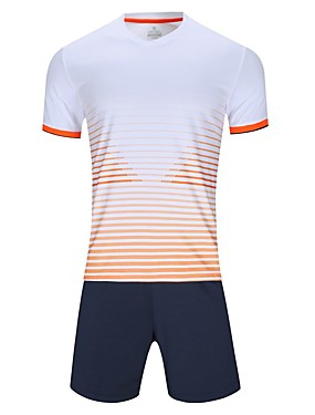 cheap Sports & Outdoors-Men's Soccer Jersey and Shorts Clothing Suit Breathable Quick Dry Soft Team Sports Active Training Football Cotton Adults Teen White Fuchsia Orange / Micro-elastic