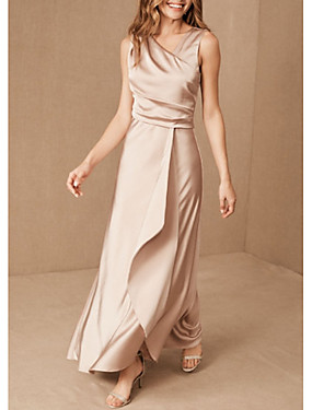 cheap Weddings & Events-Sheath / Column V Neck Floor Length Satin Bridesmaid Dress with Ruching