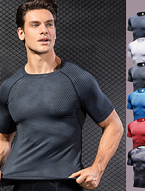 cheap Sports & Outdoors-YUERLIAN Men's Compression Shirt Optical Illusion Black / Silver White Black Red Blue Fitness Gym Workout Running Tee Tshirt Base Layer Short Sleeve Sport Activewear Breathable Quick Dry Moisture