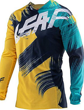 cheap Motorcyle Clothing-21Grams Men's Long Sleeve Cycling Jersey Downhill Jersey Dirt Bike Jersey Winter Spandex Polyester Green / Yellow Graffiti Bike Jersey Thermal Warm UV Resistant Quick Dry Breathable Back Pocket Sports