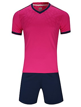 cheap Sports & Outdoors-Men's Soccer Jersey and Shorts Clothing Suit Breathable Quick Dry Soft Team Sports Active Training Football Cotton Adults Teen White Fuchsia Ruby / Micro-elastic