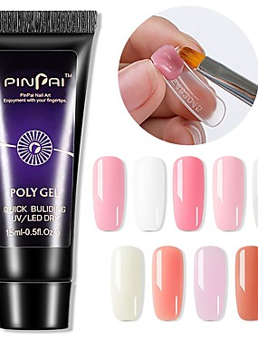 cheap Nail Kits & Sets-1PCS Poly UV Gel UV 15ml/9 Colors Quick Building Nail Extension Gel Acrylic Poly UV Gel UV Builder Nail Tips Gel Varnish Slip Solution
