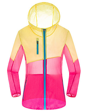 cheap Sports & Outdoors-FLYGAGa Women's Hiking Skin Jacket Hiking Windbreaker Summer Outdoor Windproof Sunscreen Breathable Quick Dry Jacket Hoodie Windbreaker Single Slider Running Hunting Fishing Light Yellow / Red+Blue