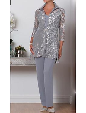 billige Bryllup & Eventer-Pantsuit Kjole til brudens mor Innpakking inkludert V-hals Ankellang Chiffon Blonder 3/4 ermer med Krystallbrosje 2020